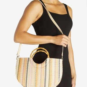 Beautiful striped tote with bamboo handle.